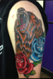 Colour bear and roses arm piece