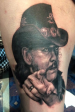 Lemmy black and grey portrait tattoo