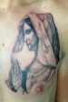 Black and grey virgin mary religious tattoo